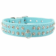 Bling 2 Rows Rhinestone Diamante Leather Pet Dog Cat Puppy Collars Blue Size M L