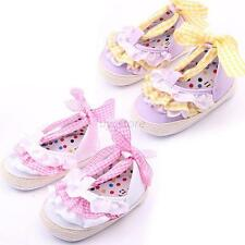 Baby Infant Toddler Girl Lace Soft Sole Anti-slip Crib Shoes Prewalker 0-18M U24