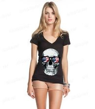 American Flag Sunglasses Skull Women's V-Neck T-shirt Patriotic Skull USA Shirts