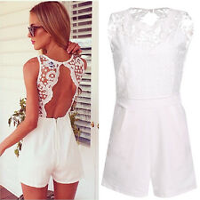 #g Sexy Women Lace Sleeveless Bodycon Backless Jumpsuit Romper Trousers Clubwear