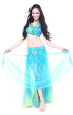 New Belly Dance Costume 2 Pics full set Bra Top&Skirt 34B/C 36B/C 38B/C 6 Colors