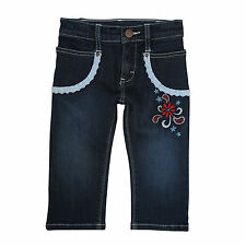 WRANGLER Cute All Around Baby Girl's Western Flowers Lace Blue Jeans PQJ538D NWT