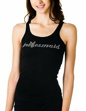 WOMENS BLACK TANK TOP PLAYBOY BRIDESMAID RACER BACK RHINESTONE SIZES S - M - L