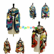 WOMEN FLORAL PRINT TURQUOISE / BLACK LADY SOFT LONG NECK LARGE SCARF WRAP SHAWL