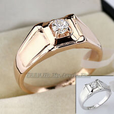 Men's Solitaire Fashion Rhinestone Ring 18KGP Crystal Size 8-11.5