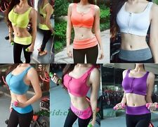 High Impact Shockproof 4 Support Insert Padded Front Zipper Sports Bra  Tops B62