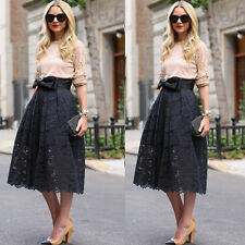 Fashion Women High Waist Midi Lace Pleated Full Skirt Midiskirt Party Bust Skirt