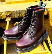 LADIES WOMENS COMBAT MILITARY BIKER LEATHER LACE UP WORKER ANKLE BOOT US4.5-12