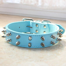 Blue PU Leather 2 Rows Spiked Studded Dog Collar Dog Pitbull Terrier Size S M