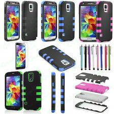 For Samsung Galaxy S5 SV i9600 Tough Rugged Impact Armor Hybrid Hard Case Cover