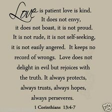 Love is Patient Love is Kind Wall Decal Love Quotes Bible Wedding Wall Art