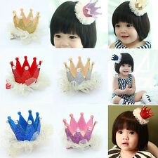Pretty Baby Girls Colorful Crown Pearl Princess Hair Clip Party Accessories