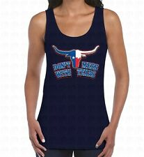 Don't Mess With Texas Womens Mens Tank Top Bull Horns State Flag Cowboys Ranch