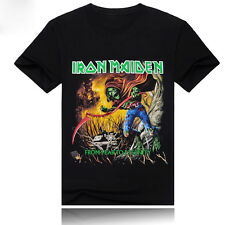 Men's Tee T-Shirt HEAVY METAL IRON MAIDEN Print Tattoos Art Short Sleeve Graphic