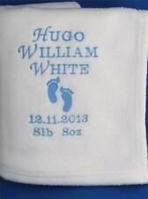 PERSONALISED BABY BLANKET EMBROIDERED NAME NEW BABY BIRTH CHRISTENING GIFT FEET