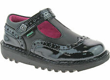 Kickers Kick T Brogie Black  Leather Pat Girls Infant Kids Back To School  Shoes