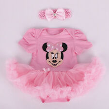 Newborn Infant Baby Girl Pink Minnie Mouse Romper Dress Headband Clothes Outfits