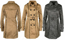 Z43 NEW WOMENS DOUBLE BREASTED BELTED LONG TRENCH LAPEL OUTERWEAR COAT JACKET.