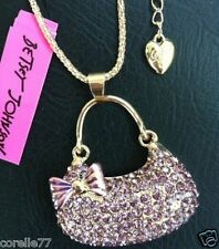 PURPLE BLING PURSE PERSONALITY NECKLACE & CHARM CRYSTAL ALLOY Betsey Johnson