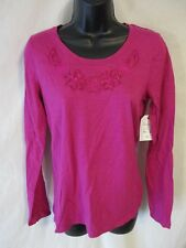 St Johns Bay 100% Cotton Reg Size Long Sleeve Casual Solid Knit Tops SR $24 NEW