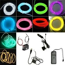 Flexible Led Glow EL Wire Neon Light Dance Party Tube Rope Car Decor+Controller