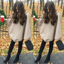 Fashion Womens Cape Batwing Wool Poncho Jacket Lady Winter Warm Cloak Coat