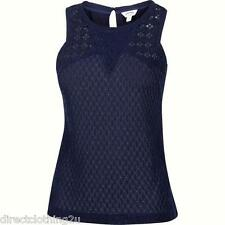 NEW LADIES Fatface APPLEDORE CUT OUT CAMI CAMISOLE VEST TOP SIZE 12-14 NAVY BLUE