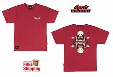 VICTORY MOTORCYCLES COTTON T-SHIRT TEE SHIRT RED LOGO KING PISTON SKULL MEN'S