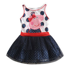 cute girl's summer peppa pig cartoon cotton vest princess birthday dress 18m-6y