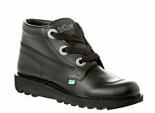 Kickers Kick Hi Phat Mens Womens  Black Leather Back To School Black Shoes