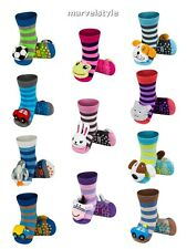 Baby Boys Girls Anti Slip Terry Socks with 3D Animal Rattle age 0-24 months FAB!