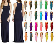 Womens Plain Muscle Racer Back Sleeveless Stretch Bodycon Ladies Long Maxi Dress