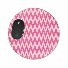 Neon Pink Chevron Mousepad Neoprene - Round, Heart or Rectangle Shape