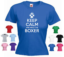 'Keep Calm and Walk the Boxer' Ladies / Girls Funny Dog Pet T-shirt Tee
