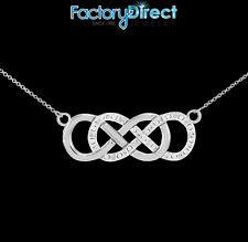 Sterling Silver Vertical Double Infinity CZ Necklace