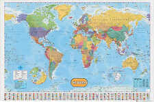 # LAMINATED WORLD MAP POLITICAL ATLAS/Physical WALL POSTER educational 15x23inch