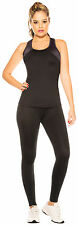 2 Piece Women's Spandex Activewear Set Gym Outfit Tank Top Fitted Leggings Black