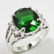 Jewelry Fashion Nice Women's Ring 10KT White Gold Filled Emerald Size:7/8/9
