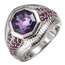 Amethyst, Ruby Solid 925 Sterling Silver Fine Ring for Women