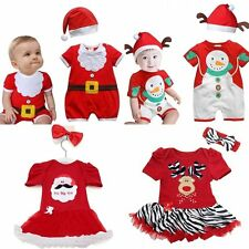 Baby Boy Girl Summer Christmas Party Costume Dress Outfit+Hat/Headband Set 00-3