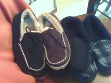 Hard Bottom Moccasin Style Lined Slippers Fleece or Faux Suede sz 7 8 9 12 13
