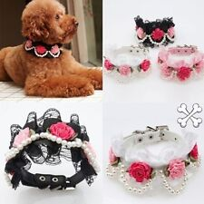 Fashion Pet Dog Cat Puppy Imitation Pearls Necklace PU Flower Lace Collar