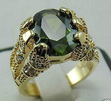 Size:10 11 Men's Nice Jewelry 10KT Yellow Gold Filled Peridot Ring