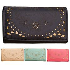 NEW! Hollow Out Damask Leather Wallet Korean Bags Long Purse Card Holder Handbag