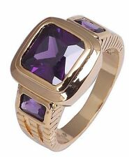 Size:10 11 Jewelry Generous 10KT Yellow Gold Filled Men's Amethyst Ring