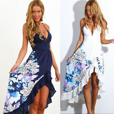 Women Sexy V-Neck Floral Asymmetric Long Maxi Party Cocktail Beach Dress R57 New