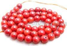 "SALE small 6-7mm round Red natural Coral loose beads strand 15""-los197"