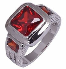 Size:10 11 Jewelry Generous 10KT White Gold Filled Men's Ruby Ring