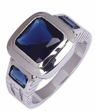 Size:10 11 Nice Jewelry Generous 10KT White Gold Filled Men's Sapphire Ring