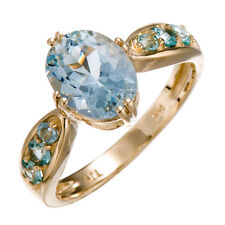 Gorgeous 14k Yellow Gold 2.69 CT Natural Aquamarine & Apatite Fine Ring Size 7